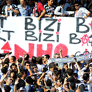 Besiktas Istanbul's new Portuguese soccer player Ricardo Quaresma and Besiktas supporters poses for the media after signing a contract with Turkish soccer club Besiktas at Inonu stadium in Istanbul June 19, 2010.Photo by TURKPIX
