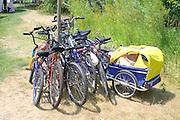 Family of bicycles parked near the Aquatennial Beach Bash Minneapolis Minnesota USA