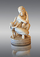 2nd century AD Roman marble sculpture of Aphrodite (Venus), 'Dresden Capitoline Type, copied from a Bronze Hellanistic original from the mid 3rd century BC  attributed to the Greek sculptor Doldalsas of Bethynia,  inv 6283, Museum of Archaeology, Italy