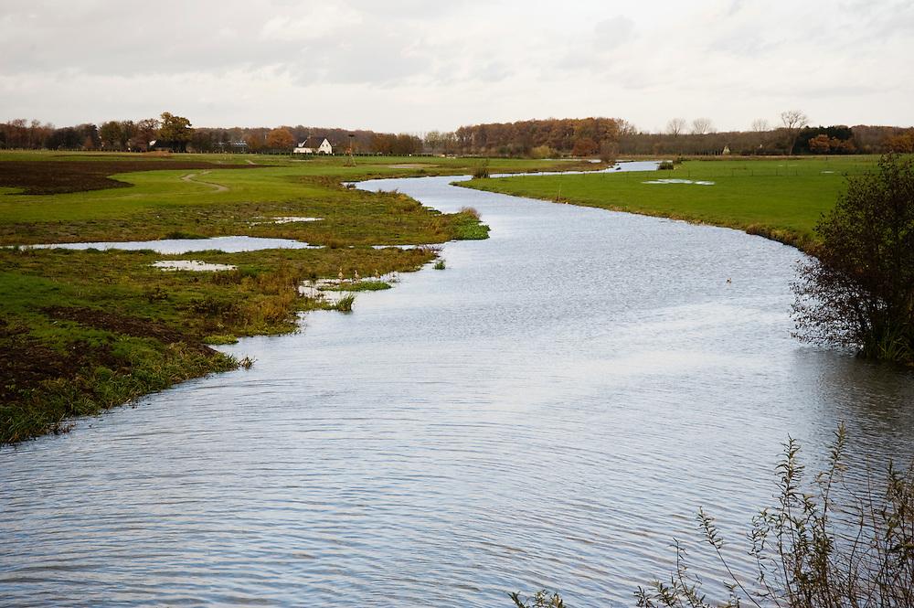 Nederland, Cothen, 7 nov  2008.Kromme Rijn tussen Cothen en Wijk bij Duurstede..Oevers van de Kromme Rijn zijn natuurlijker gemaakt, mede om het waterbergend vermogen te vergroten...Foto (c) Michiel Wijnbergh