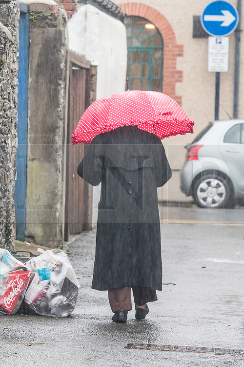 ©Licenced to London News PicturesAberystwyth Wales UK, Tuesday 11 September 2018. UK Weather: Strong winds and driving rain make it a wet and blustery start to the day in Aberystwyth on the Cardigan Bay coast of west Wales.<br />  The UK is expecting the tail end of Hurricane Florence, which is is heading towards the eastern USA with ferocious energy , to affect the British Isles this coming weekend.  Photo © Keith Morris / LNP