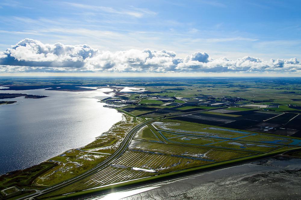Nederland, Friesland, Gemeente Dongeradeel, 28-02-2016; Polder De Band, met links het Lauwersmeer. Voormalig kweldergebied, nu bedijkt. Wierumerwad in de voorgrond.<br /> Polder near Waddensea, former tidal flat.<br /> luchtfoto (toeslag op standard tarieven);<br /> aerial photo (additional fee required);<br /> copyright foto/photo Siebe Swart