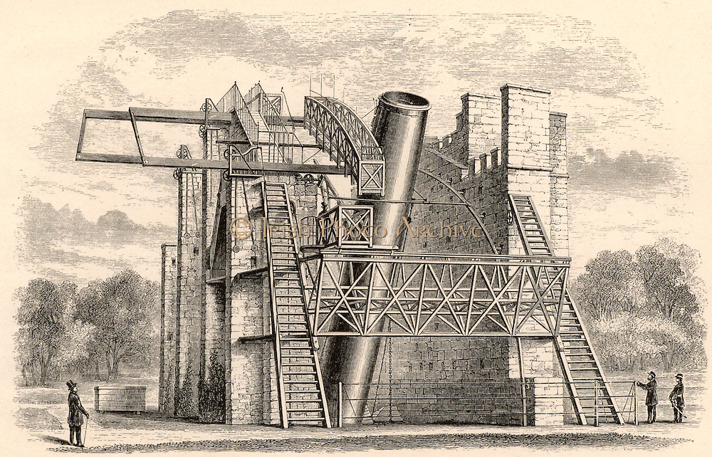 Lord Rosse's great 72-inch (1.828m) diameter reflecting telescope of 1845, called the Leviathan of Parsonstown.  Mounted between two brick walls, it could move only in a north-south direction.  The Earth's rotation provided movement in an east-west direction.  Engraving from 'A Handbook of Descriptive Astronomy' by George F Chambers (Oxford, 1890).  William Parsons, 3rd Earl of Rosse (1800-1867).