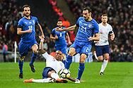 England Defender John Stones (5) and Italy Defender Davide Zappacosta (21) battle for the ball during the Friendly match between England and Italy at Wembley Stadium, London, England on 27 March 2018. Picture by Stephen Wright.