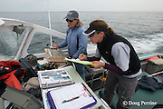 New England Aquarium researcher Heather Pettis looks through a right whale catalogue to match a sighted whale while senior scientist Dr. Moira Brown drives the NEAq research vessel Nereid in the Bay of Fundy, Canada ( North Atlantic Ocean )
