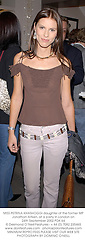 MISS PETRINA KHASHOGGI daughter of the former MP Jonathan Aitken, at a party in London on 24th September 2002.PDK 64