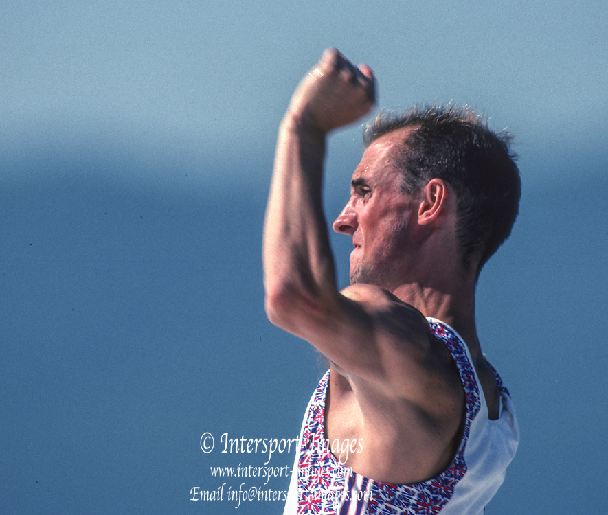 Barcelona, SPAIN. Gold Medalist, GBR M2+, cox, Gary HERBERT.  Celebrates on the awards dock. 1992 Olympic Rowing Regatta Lake Banyoles, Catalonia [Mandatory Credit Peter Spurrier/ Intersport Images] Last time Men's coxed pair raced at the Olympics,