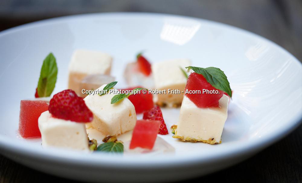Greenhouse Restaurant Perth<br /> Yoghurt parfait, rose jelly, watermelon, strawberries