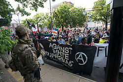 "Neo-Nazis, white supremacists and other alt-right factions scuffled with counter-demonstrators near Emancipation Park (Formerly ""Lee Park"") in downtown Charlottesville, Virginia. After fighting between factions escalated, Virginia State Police ordered the evacuation by all parties and cancellation of the ""Unite The Right"" rally scheduled to take place in the park. (Photo by Albin Lohr-Jones/Pacific Press) *** Please Use Credit from Credit Field ***"