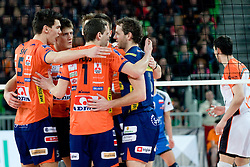 Team ACH Volley celebrate during volleyball match between ACH Volley (SLO) and Jastrzebski Wegiel (POL) in 6th Round of 2011 CEV Champions League, on January 12, 2011 in Arena Stozice, Ljubljana, Slovenia. (Photo By Matic Klansek Velej / Sportida.com)