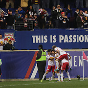Ruben Bover Izquierdo, New York Red Bulls, is congratulated by team mates after scoring during the New York Red Bulls Vs Toronto FC, Major League Soccer regular season match at Red Bull Arena, Harrison, New Jersey. USA. 11th October 2014. Photo Tim Clayton