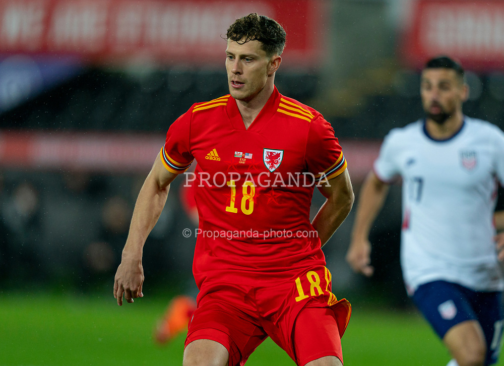 SWANSEA, WALES - Thursday, November 12, 2020: Wales' James Lawrence during an International Friendly match between Wales and the USA at the Liberty Stadium. (Pic by David Rawcliffe/Propaganda)