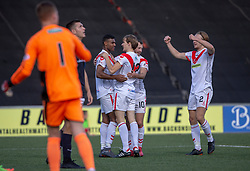 Airdrie's Joao Victoria (11) celebrates after scoring their third goal. Airdrie 3 v 4 Raith Rovers, Scottish Football League Division One played 25/8/2018 at the Excelsior Stadium.