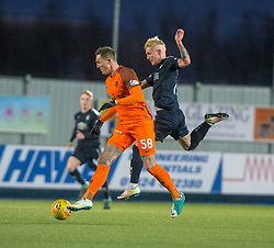 Dundee United's Emil Lyng and Falkirk's Craig Sibbald. Falkirk 6 v 1 Dundee United, Scottish Championship game played 6/1/2018 played at The Falkirk Stadium.