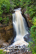 64745-00307 Miner's Falls in fall, Pictured Rocks National Lakeshore Alger Co. MI