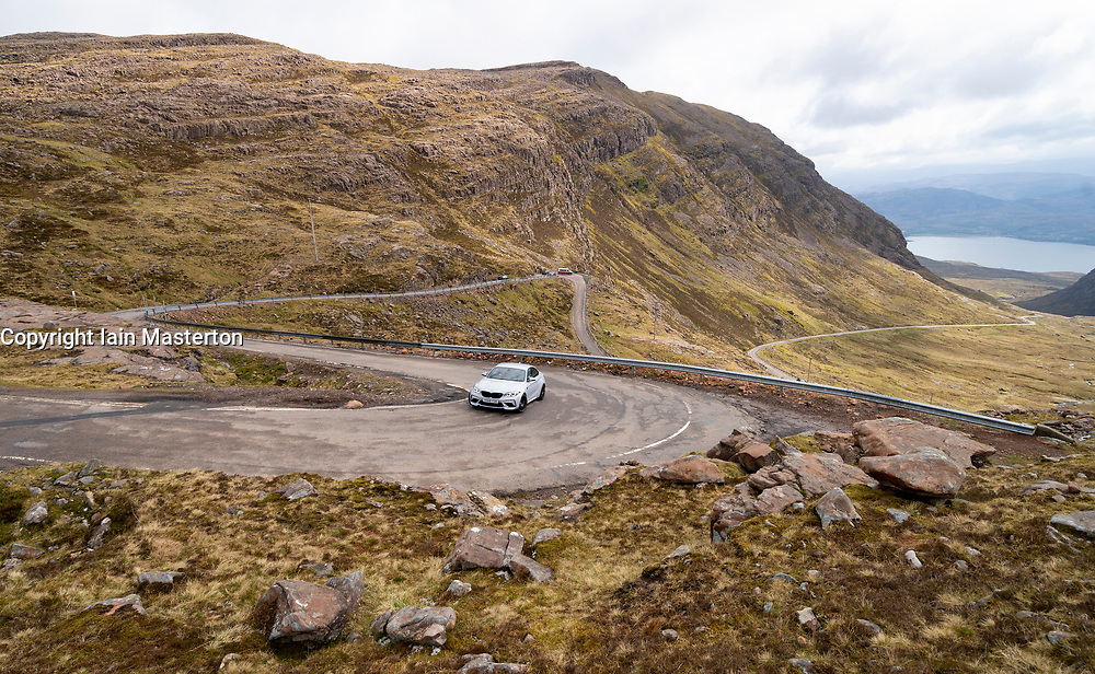 Bealach na bapass on Applecross Peninsula on the North Coast 500 tourist motoring route in northern Scotland, UK
