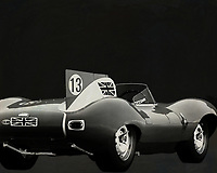 Jaguar Type D 1956 <br /> Like its predecessor Jaguar C-Type, the Jaguar D-Type is a factory-built racing car. The Jaguar D-Type had a straight-XK engine design. At the beginning it was a 3.4 engine, later also a 3.8, together with the C-Type a revolutionary car in terms of aerodynamics and monocoque chassis. The D-Type was produced purely for motorsport, but after Jaguar stopped building the car for motorsport, the company offered the unfinished chassis as the public-road version of the JaguarXKSS. These cars were given a number of modifications such as a passenger seat, a second door, a full windscreen and a roof. But on 12 February 1957 a fire broke out on Browns Lane plant. The fire destroyed nine of 25 cars that were already finished or almost finished. – -<br /> <br /> BUY THIS PRINT AT<br /> <br /> FINE ART AMERICA<br /> ENGLISH<br /> https://janke.pixels.com/featured/2-jaguar-type-d-1956-b-w-jan-keteleer.html<br /> <br /> WADM / OH MY PRINTS<br /> DUTCH / FRENCH / GERMAN<br /> https://www.werkaandemuur.nl/nl/shopwerk/Jaguar-Type-D-1956-Achterzijde-B-amp-W/571938/132