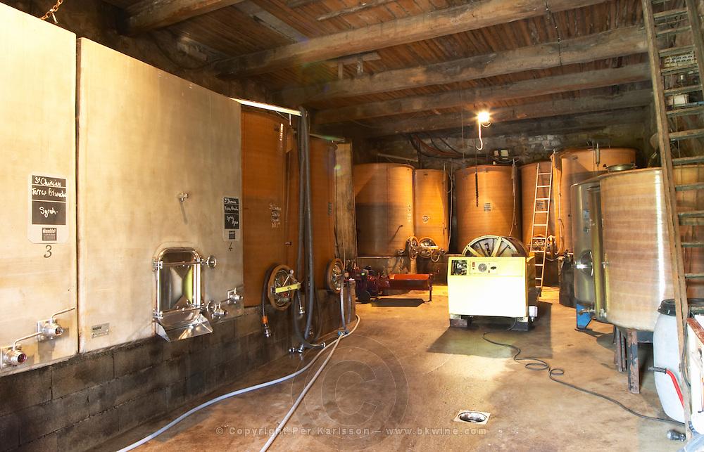 Domaine Borie la Vitarèle Causses et Veyran St Chinian. Languedoc. Concrete fermentation and storage vats. Wine press. France. Europe.