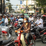 Heavy traffic in downtown Ho Chi Minh City, Vietnam.