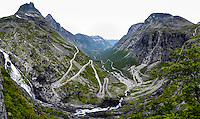 Norway, Rauma. Trollstigen is a serpentine mountain road in western Norway. Stitched panorama.