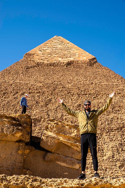 Looking upward at the Pyramid of Menkaure at the Giza Pyramid Complex, Giza, Egypt.