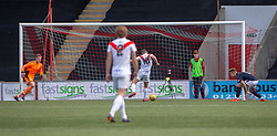 Airdrie's Dale Carrick (10) scoring their second goal. half time : Airdrie 2 v 0 Raith Rovers, Scottish Football League Division One played 25/8/2018 at the Excelsior Stadium.