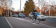 Pista ciclebile nei pressi della Triennale a Milano..Bicycle lanes near the Triennale building in Milan.