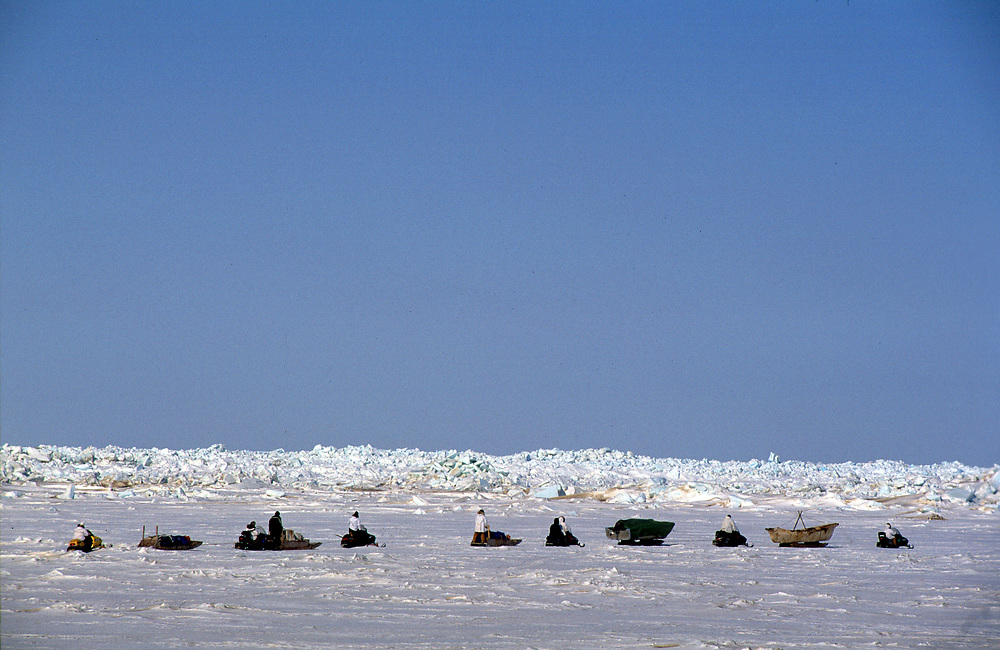 Barrow whaling crew travelling to their whaling camp nearer the open water of the Chukchi Sea
