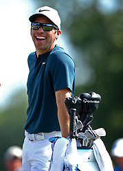 Paul Casey laughs as he waits at the 17th tee box during first round action of the PGA Championship at Quail Hollow Club Thursday, Aug. 10, 2017 in Charlotte, N.C. (Photo by Jeff Siner/Charlotte Observer/TNS/Sipa USA)  *** Please Use Credit from Credit Field ***