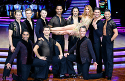 Stacey Dooley (third right) poses with AJ Pritchard (top left), Joe Sugg, Johannes Radebe (centre), Graziano Di Prima, Aljaz Skorjanec, Giovanni Pernice, Dr Ranj Singh (bottom left) Pasha Kovalev and Graeme Swann during a photocall before the opening night of the Strictly Come Dancing Tour 2019 at the Arena Birmingham, in Birmingham. Picture date: Thursday January 17, 2019. Photo credit should read: Aaron Chown/PA Wire