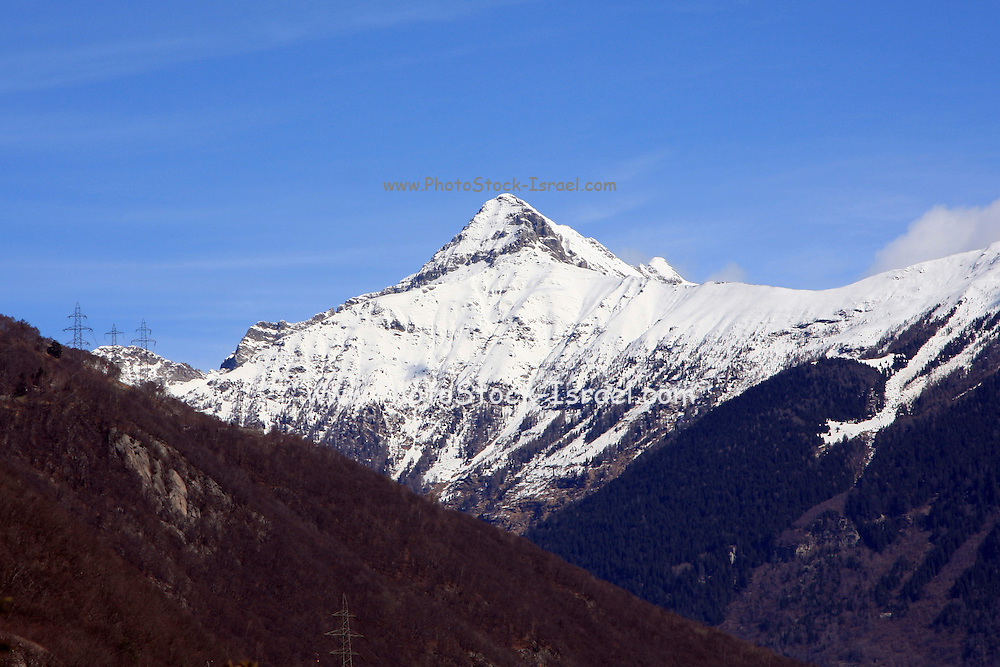 Switzerland, Swiss Alps, snow covered mountain peak