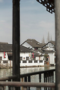 View of a river and old traditional Chinese style houses and architecture, Zhujiajiao, China