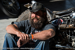 "Phil Cusmano of GA with his custom 1947 Harley-Davidson Knucklehead at Warren Lane's ""True Grit"" pre-70's ride-In bike gathering at Destination Daytona Harley-Davidson during Daytona Beach Bike Week 2015. FL, USA. Sunday, March 8, 2015.  Photography ©2015 Michael Lichter."
