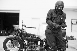 """Andreas """"Andy"""" Kaindl of Southern Germany with his 1924 Henderson Deluxe at a gas stop during Stage 8 of the Motorcycle Cannonball Cross-Country Endurance Run, which on this day ran from Junction City, KS to Burlington, CO., USA. Saturday, September 13, 2014.  Photography ©2014 Michael Lichter."""