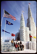 Construction crew poses w/ 128'-tall ice palace built for 1986 St Paul Winter Carnival centennial. Minnesota