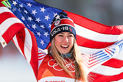 February 15, 2018 - Pyeongchang, South Korea - MIKAELA SHIFFRIN of the United States celebrates winning gold in the Women's Giant Slalom event at the Yongpyang Alpine Center at the Pyeongchang Winter Olympic Games. (Credit Image: © Wu Zhuang/Xinhua via ZUMA Wire)