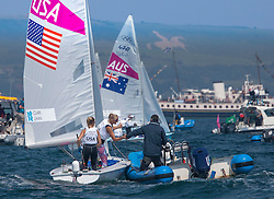 10.08.2012, Bucht von Weymouth, GBR, Olympia 2012, Segeln, im Bild Clark Amanda, Lihan Sarah, (USA, 470 Women). // during Sailing, at the 2012 Summer Olympics at Bay of Weymouth, United Kingdom on 2012/08/10. EXPA Pictures © 2012, PhotoCredit: EXPA/ Daniel Forster ***** ATTENTION for AUT, CRO, GER, FIN, NOR, NED, .POL, SLO and SWE ONLY!