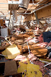 25 Sept, 2005.  Lake Calcasieu, Louisiana. Hurricane Rita aftermath. <br /> What remains of the interior of an oil company office and living quarters after the tidal surge washed through the building.<br /> Photo; ©Charlie Varley/varleypix.com