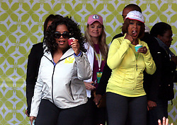 May 09, 2010 - New York, New York, U.S. - OPRAH WINFREY and GAYLE KING at Times Square Celebration for ''Live Your Best Life'' Charity Walk to celebrate the 10th Anniversary of O, The Oprah Magazine in New York City on 05-09-2010.   2010..K64754HMc(Credit Image: © Henry McGee/ZUMApress.com)