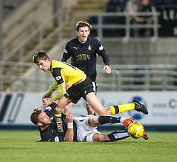 Falkirk's Lee Miller and Livingston Kieran Gibbons. Falkirk 2 v 0 Livingston, Scottish Championship game played 29/12/2015 at The Falkirk Stadium.