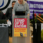 London, England, UK. 21st October 2017. Speaker Cornelia Kerth at the National Conference: Confronting the rise in racism, Islamophobia and anti-semitism in the U.S. and Europe at the Friends House, Euston.
