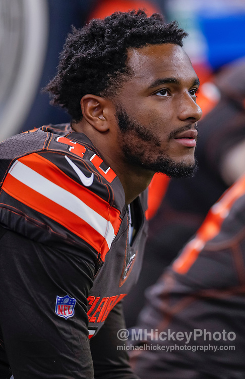 INDIANAPOLIS, IN - AUGUST 17: Tigie Sankoh #40 of the Cleveland Browns is seen during the preseason game against the Indianapolis Colts at Lucas Oil Stadium on August 17, 2019 in Indianapolis, Indiana. (Photo by Michael Hickey/Getty Images) *** Local Caption *** Tigie Sankoh