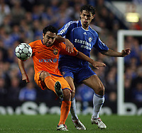 Photo: Paul Thomas.<br /> Chelsea v Barcelona. UEFA Champions League, Group A. 18/10/2006.<br /> <br /> Deco (L) of Barcelona and Khalid Boulahrouz go for the ball.