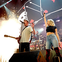 ST PAUL, MN - DECEMBER 03:  (L-R) Andrew Taggart and Alex Pall (on riser) of The Chainsmokers and Kelsea Ballerini perform onstage during 101.3 KDWB's Jingle Ball 2018 at Xcel Energy Center on December 3, 2018 in St Paul, Minnesota.  (Photo by Adam Bettcher/Getty Images for iHeartMedia) *** Local Caption *** Andrew Taggart;Kelsea Ballerini;Alex Pall