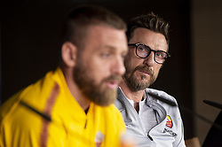September 18, 2018 - Madrid, Spain - Daniele De Rossi (L) and coach Eusebio Di Francesco (R) of Roma during press conference the day before Champions League match between Real Madrid and Roma at Santiago Bernabeu Stadium in Madrid, Spain. September 18, 2018. (Credit Image: © Coolmedia/NurPhoto/ZUMA Press)