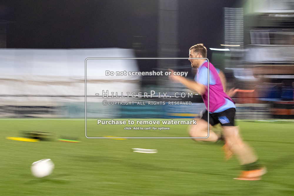 BROMLEY, UK - OCTOBER 30: Tom Murphy, of Cray Wanderers FC, warms up before the Kent Senior Cup match between Cray Wanderers and VCD Athletic at Hayes Lane on October 30, 2019 in Bromley, UK. <br /> (Photo: Jon Hilliger)