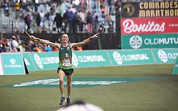 10062018 (Durban) A 3rd position Steven Way (5:35:27), Great Britain run towards the finnish line during the 2018 Comrades marathon in Durban.<br /> Picture: Motshwari Mofokeng/ANA