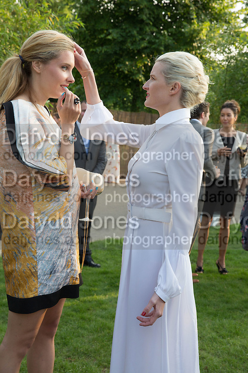 SARA BRAJOVIC; FIONA SCARRY; , The Serpentine Summer Party 2013 hosted by Julia Peyton-Jones and L'Wren Scott.  Pavion designed by Japanese architect Sou Fujimoto. Serpentine Gallery. 26 June 2013. ,