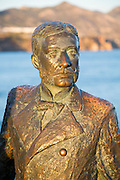 King Alfonso seventh, statue by F. Martin 2003, Nerja, Malaga province, Spain commemorating 1885 visit