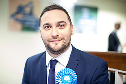 © Licensed to London News Pictures . 13/12/2019. Bury, UK. Conservative Party winner in Bury South CHRISTIAN WAKEFIELD , at the count in the 2019 UK General Election , at Castle Leisure Centre in Bury . Photo credit: Joel Goodman/LNP